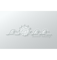 Summer holidays paper cut design background vector