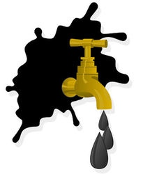 Oil spill and faucet vector