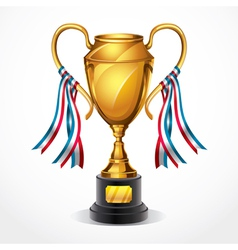 Golden award trophy and ribbon vector