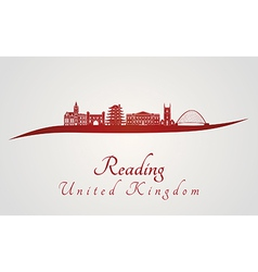 Reading skyline in red vector