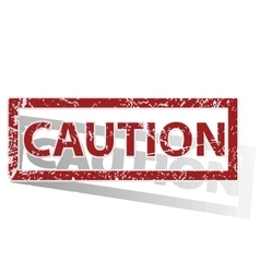 Caution outlined stamp vector