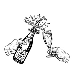Champagne in hand and glass in hand vector