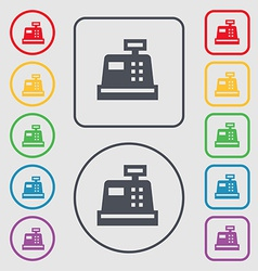 Cash register icon sign symbol on the round and vector