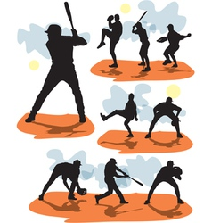 Set baseball silhouettes vector