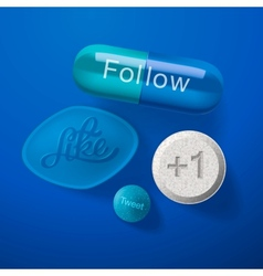 Social media addiction concept pills capsules vector