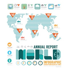 Infographic annual report world template vector