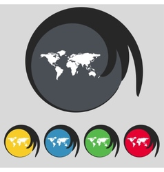 Globe sign icon world map geography symbol set vector