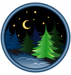 Night in the winter forest vector