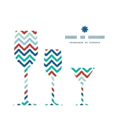 Colorful ikat chevron three wine glasses vector
