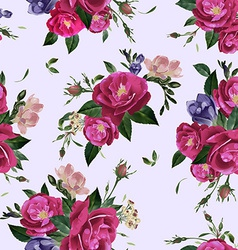 Seamless floral pattern with roses and freesia vector
