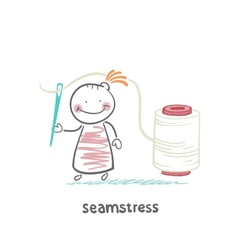 Seamstress holding a needle and thread vector
