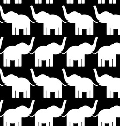 Cheerful seamless pattern with elephants black and vector