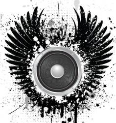 Grunge sound wings vector