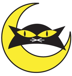 Cat and a moon vector