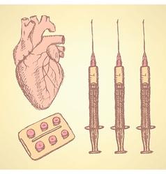 Sketch syringe pills human heart vector