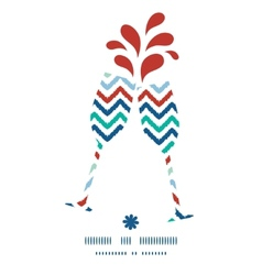 Colorful ikat chevron toasting wine glasses vector