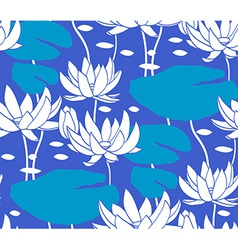 Vintage water lily seamless pattern classic vector