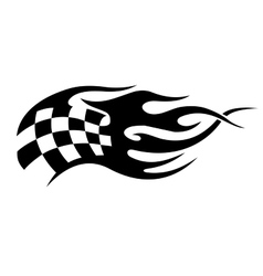 Flaming black and white checkered flag tattoo vector