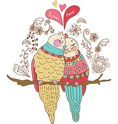 Two cute birds in love colorful vector