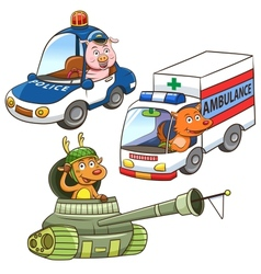 Animal vehicle occupation cartoon vector
