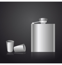 Alcohol silver hip flask eps10 vector