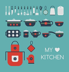 Set of kitchen utensils vector