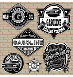 Set of labels on the topic gasoline vector