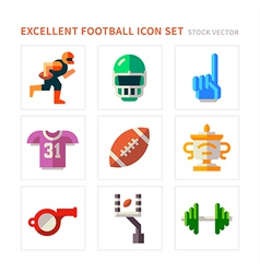 American football flat icons vector