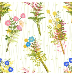 Springtime colorful flower with wild grass pattern vector