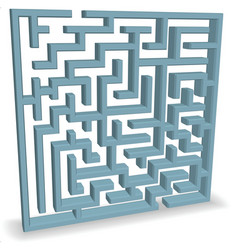 Upright blue maze vector