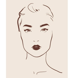 Beautiful woman face hand drawn vector