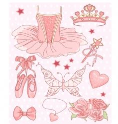 Princess ballerina set vector