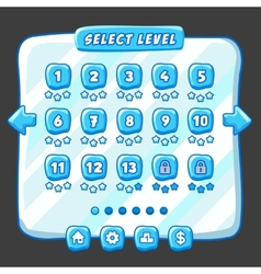 Level selection game menu ice style vector
