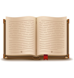 Open book with text and red bookmark vector