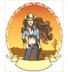 Cowgirl poster vector