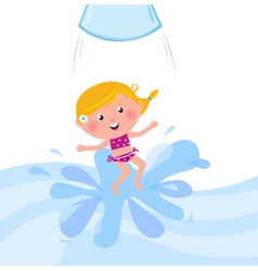 Kid jumping from water tube vector