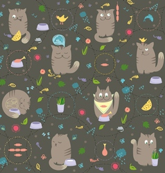 Seamless pattern cats with foods vector