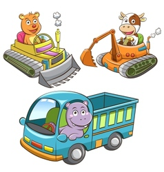 Set of construction vehicle animal cartoon vector