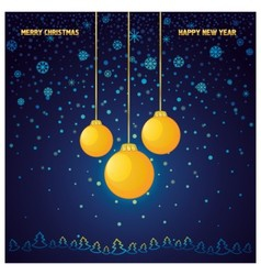 Blue christmas background with a yellow glass ball vector