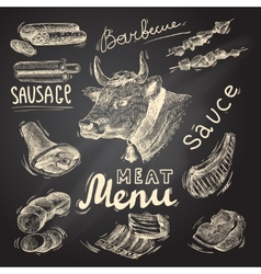 Meat chalkboard set vector