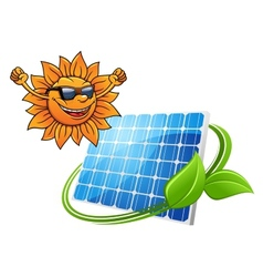 Happy cartoon sun with solar panel vector