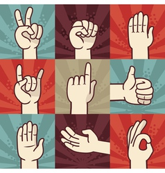 Set of hands and gestures - in retro comic style vector