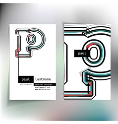 Business card design with letter p vector