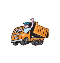 Dump truck driver waving cartoon vector