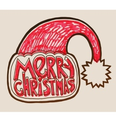 Santa hat with lettering merry christmas vector