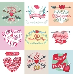 Wedding card setemblemslabelsdecorative vector
