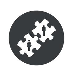 Monochrome round people puzzle icon vector