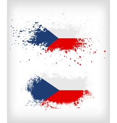 Grunge czech ink splattered flag vector