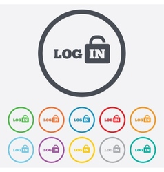 Login sign icon sign in symbol lock vector