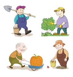 Cartoon gardeners work vector